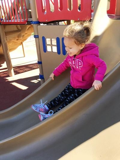 Young Girl Sliding down a Double Slide