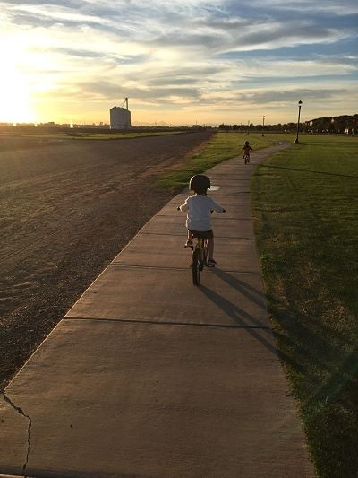 Boys Riding Bikes Along a Winding Sidewalk near Sunset