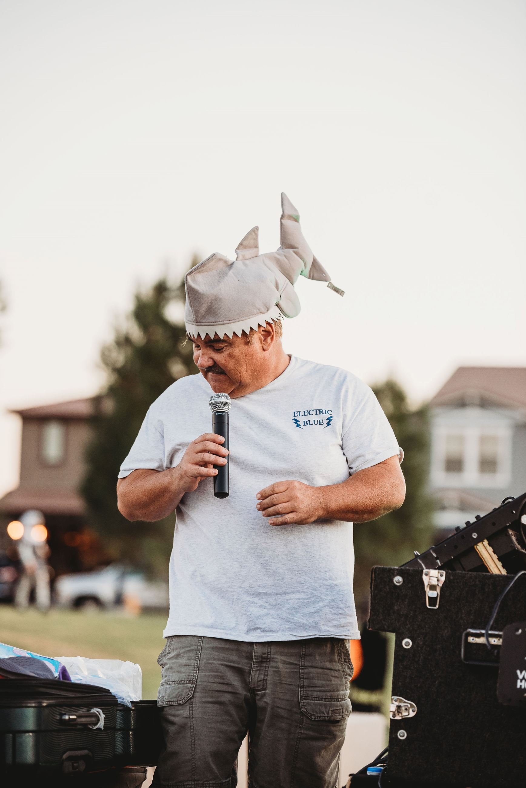 Emcee Wearing a Shark Hat